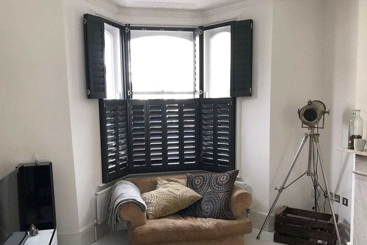 Bay Window Shutters - Living Room Shutters - Window Shutters - The London Shutter Company