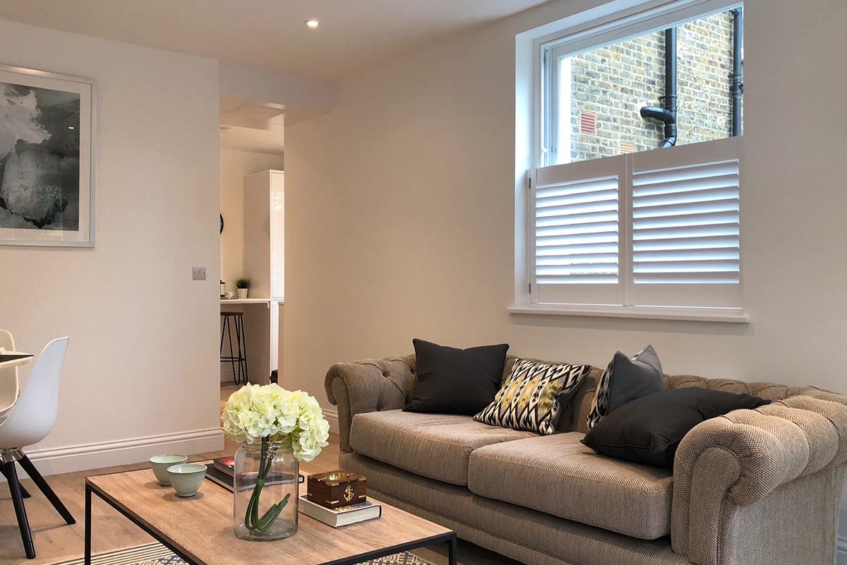 Sash Window Shutters - Living Room Shutters - Window Shutters - The London Shutter Company