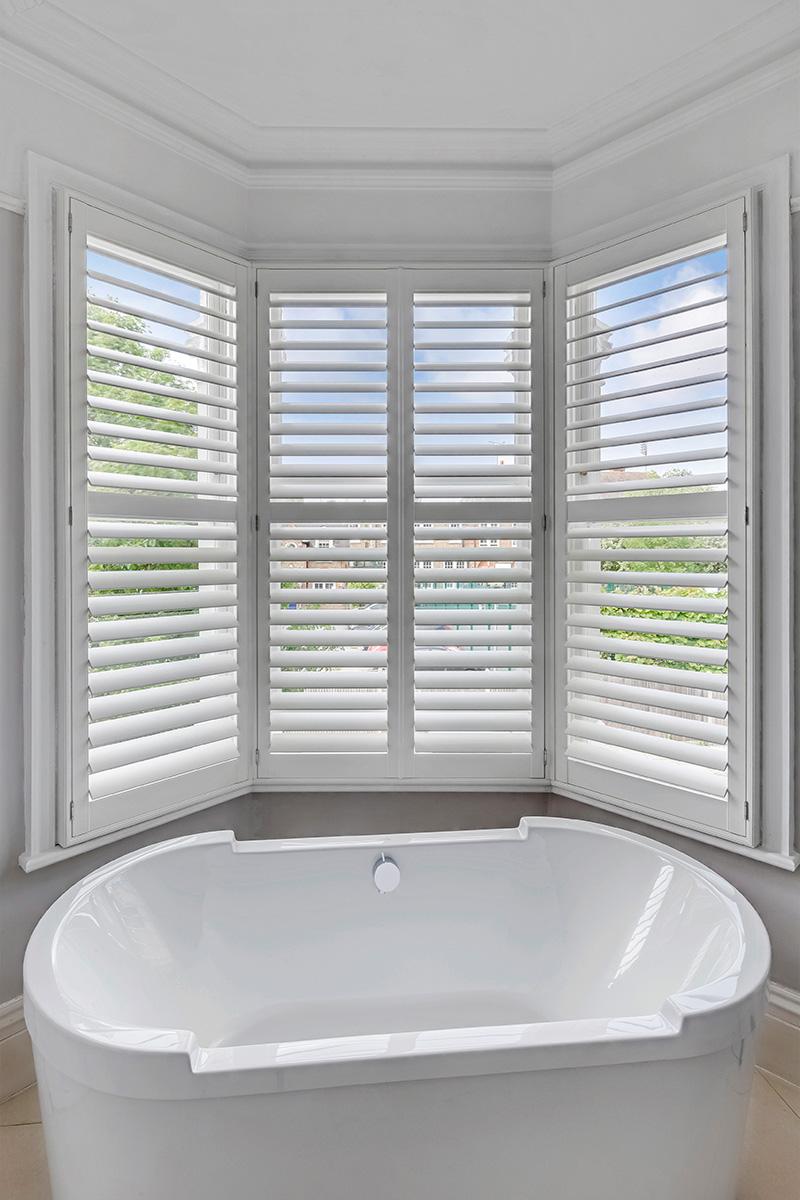 Bay Window Shutters - Bathroom Shutters - Window Shutters - The London Shutter Company