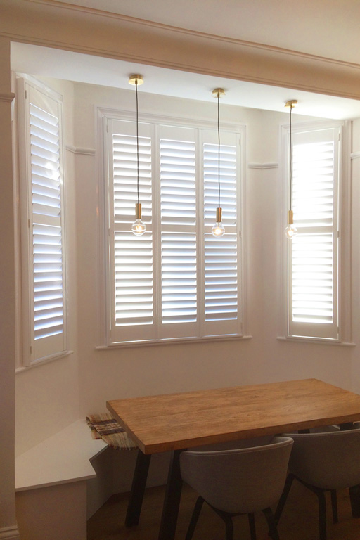 Bay Window Shutters - Dining Room Shutters - Window Shutters - The London Shutter Company